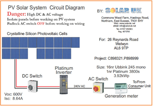 welwyn4kwschematic case study solar photovoltaic system for family home in welwyn solar pv wiring diagram uk at gsmx.co