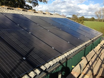 Solar PV Panels installed on farm building