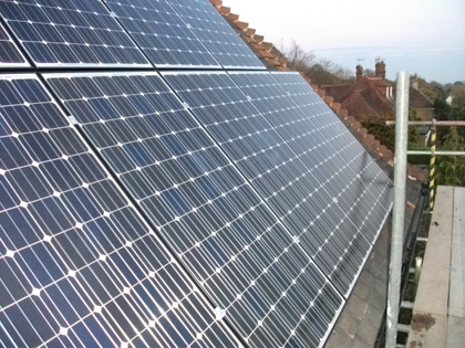 Solar PV panels installed on South Facing roof in East Sussex