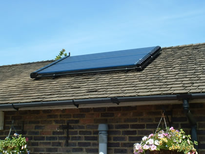 Solar Vacuum tubes on Concrete tiled roof