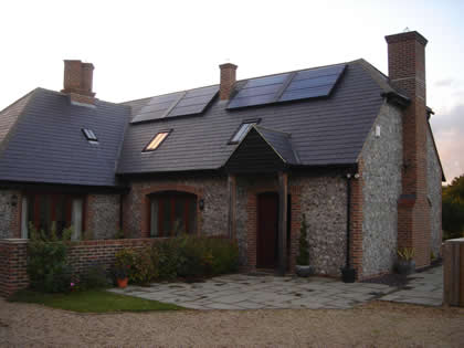 Large Solar Water Heating System on Slate Roof