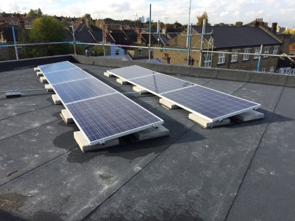 Flat roof mounted Solar PV Panels